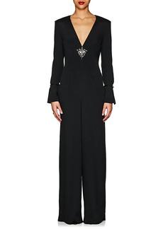 Alberta Ferretti Women's Embellished Crepe V-Neck Jumpsuit
