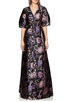 Alberta Ferretti Women's Floral Jacquard Gown