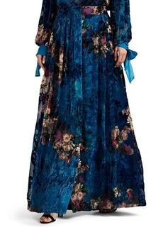 Alberta Ferretti Women's Floral Organza & Velvet Devoré Skirt