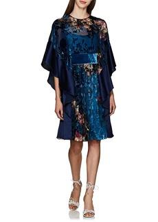 Alberta Ferretti Women's Floral Silk & Velvet Devoré Flounce-Sleeve Minidress