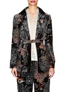 Alberta Ferretti Women's Garden-Print Velvet Belted Blazer