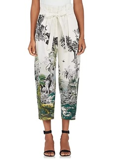 Alberta Ferretti Women's Jungle-Print Cotton-Blend Crop Pants