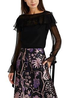 Alberta Ferretti Women's Lace & Velvet-Trimmed Ruffled Blouse