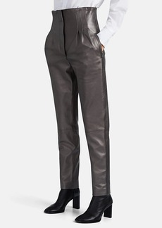Alberta Ferretti Women's Leather Pleated-Front Pants