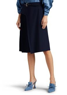 Alberta Ferretti Women's Pleated Virgin Wool-Blend Belted Skirt