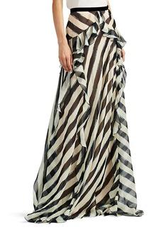 Alberta Ferretti Women's Ruffle-Trimmed Striped Maxi Skirt