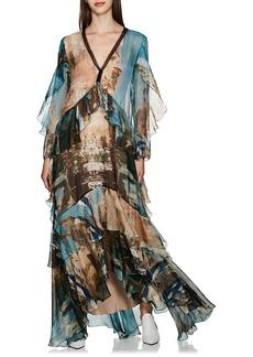 Alberta Ferretti Women's Scenic-Painting Organza Ruffled Gown
