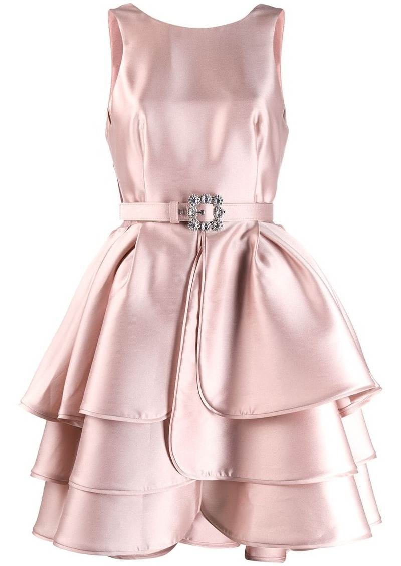 Alberta Ferretti belted ruffle dress