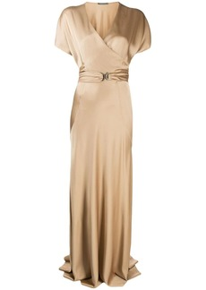 Alberta Ferretti belted wrap front gown