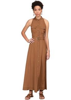 Alberta Ferretti Buttoned Crepe De Chine Midi Dress