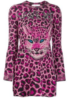 Alberta Ferretti cat face sweater dress