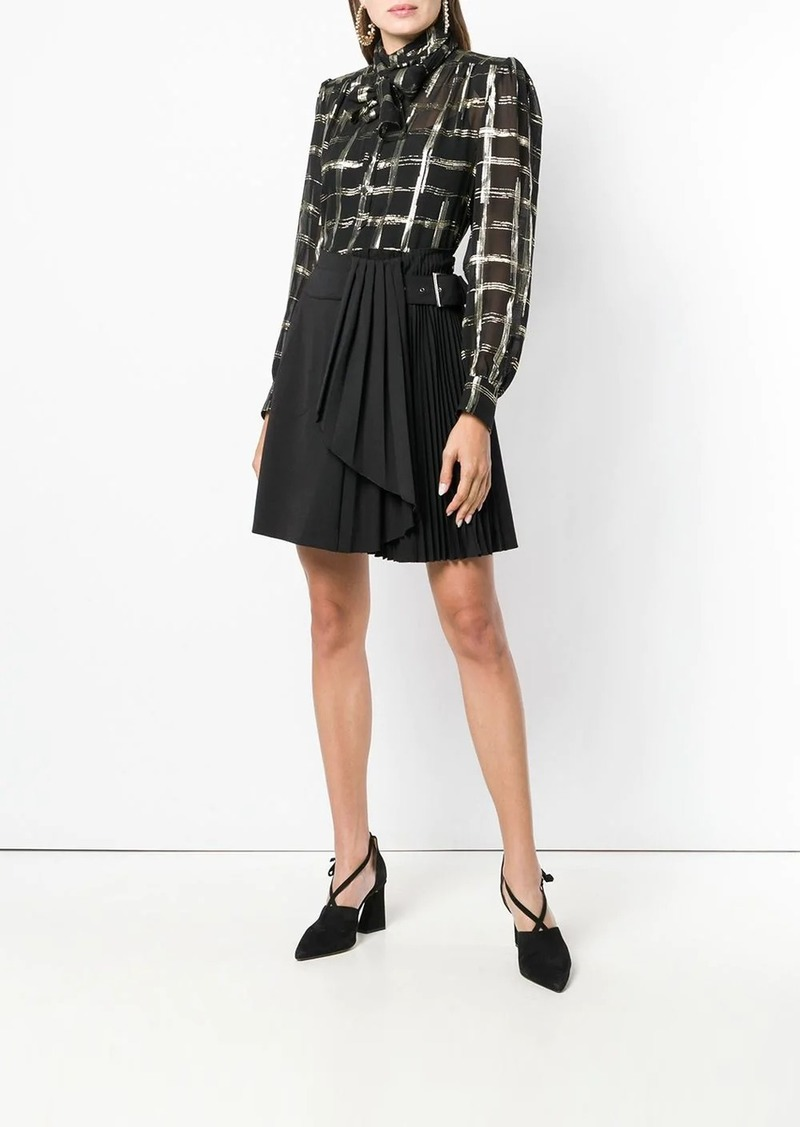 Alberta Ferretti checked bow tie shirt