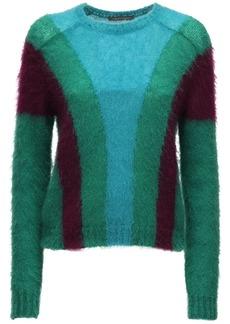 Alberta Ferretti Color Block Knit Mohair Blend Sweater