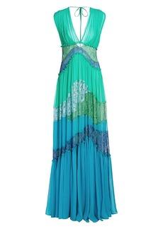 Alberta Ferretti Colorblocked Lace Gown