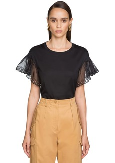Alberta Ferretti Cotton Jersey T-shirt W/organza Sleeves
