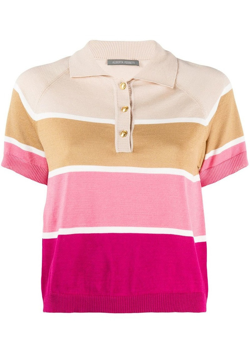 Alberta Ferretti cropped striped polo top