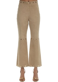 Alberta Ferretti Cropped Suede Pants W/ Ring Details