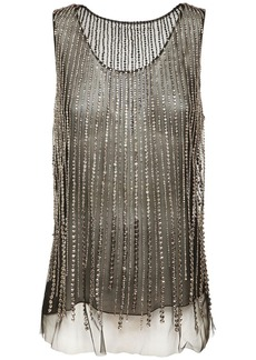 Alberta Ferretti Crystal Embellished Tulle Top