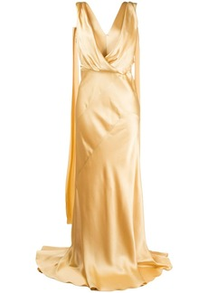 Alberta Ferretti drape-detail wrap-front gown