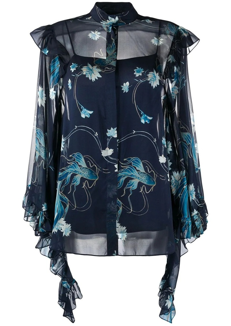 Alberta Ferretti draped sleeves floral shirt