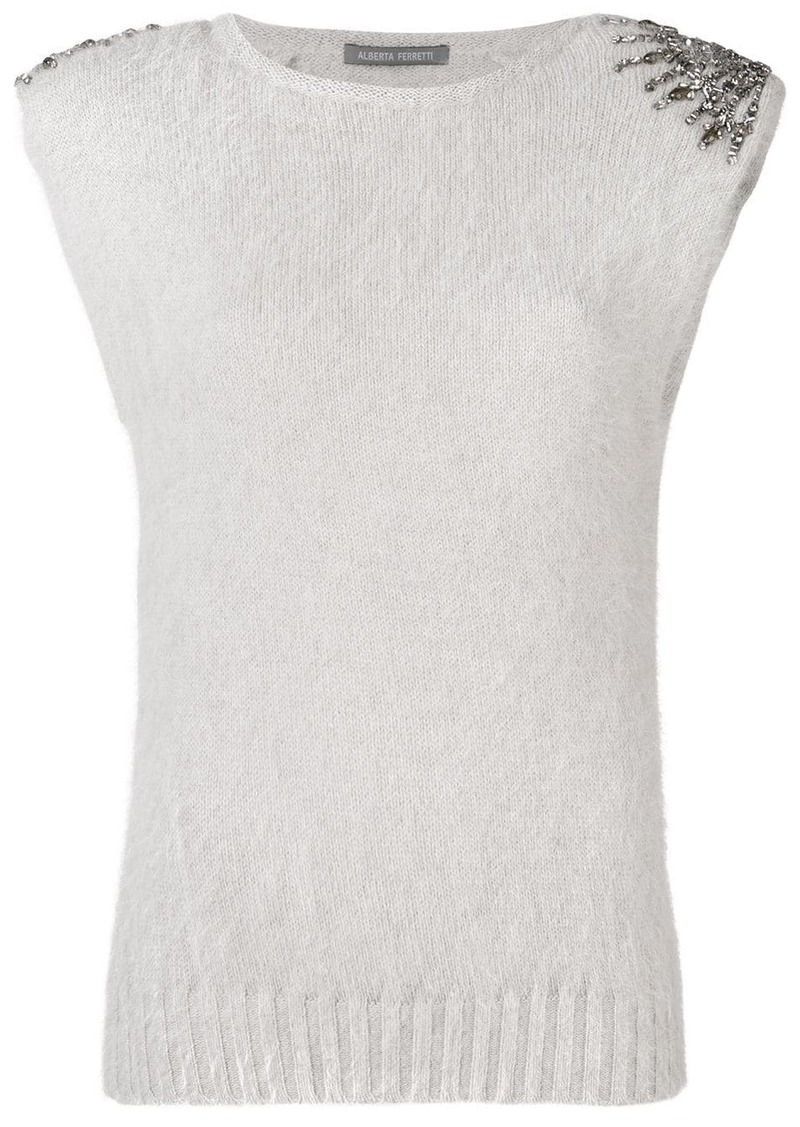 Alberta Ferretti embellished knitted top