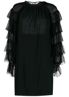 Alberta Ferretti embroidered frilled sleeves dress