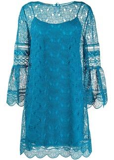 Alberta Ferretti embroidered lace layered dress