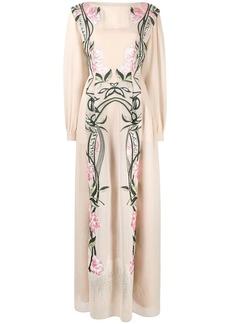 Alberta Ferretti embroidered long-sleeved maxi dress