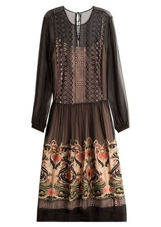 Alberta Ferretti Embroidered Silk Dress