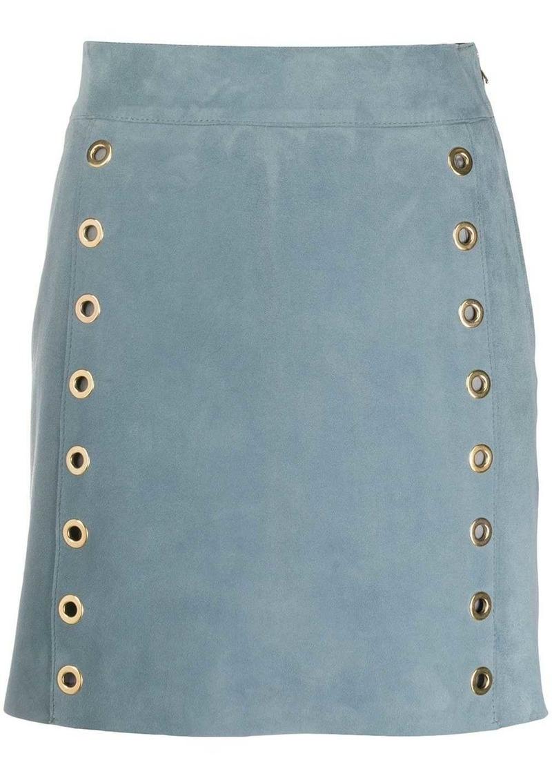 Alberta Ferretti eyelet-detail leather skirt
