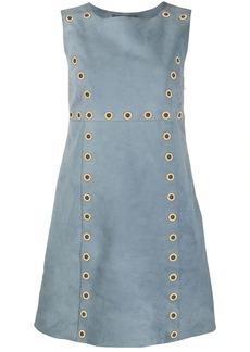 Alberta Ferretti eyelet embellished suede dress
