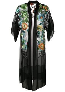 Alberta Ferretti floral embroidered sheer kimono