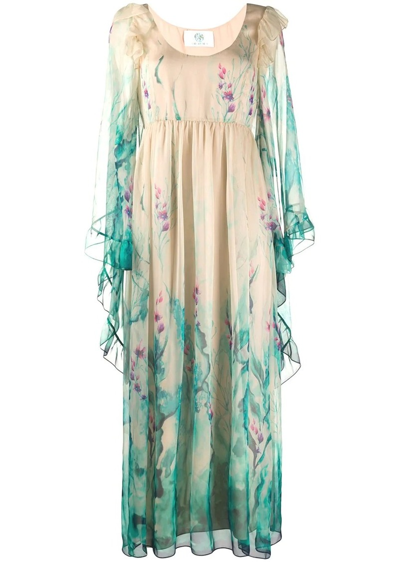 Alberta Ferretti floral print ruffled trim gown