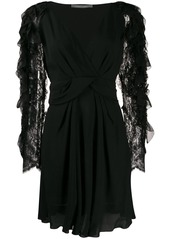 Alberta Ferretti frilled-sleeve dress