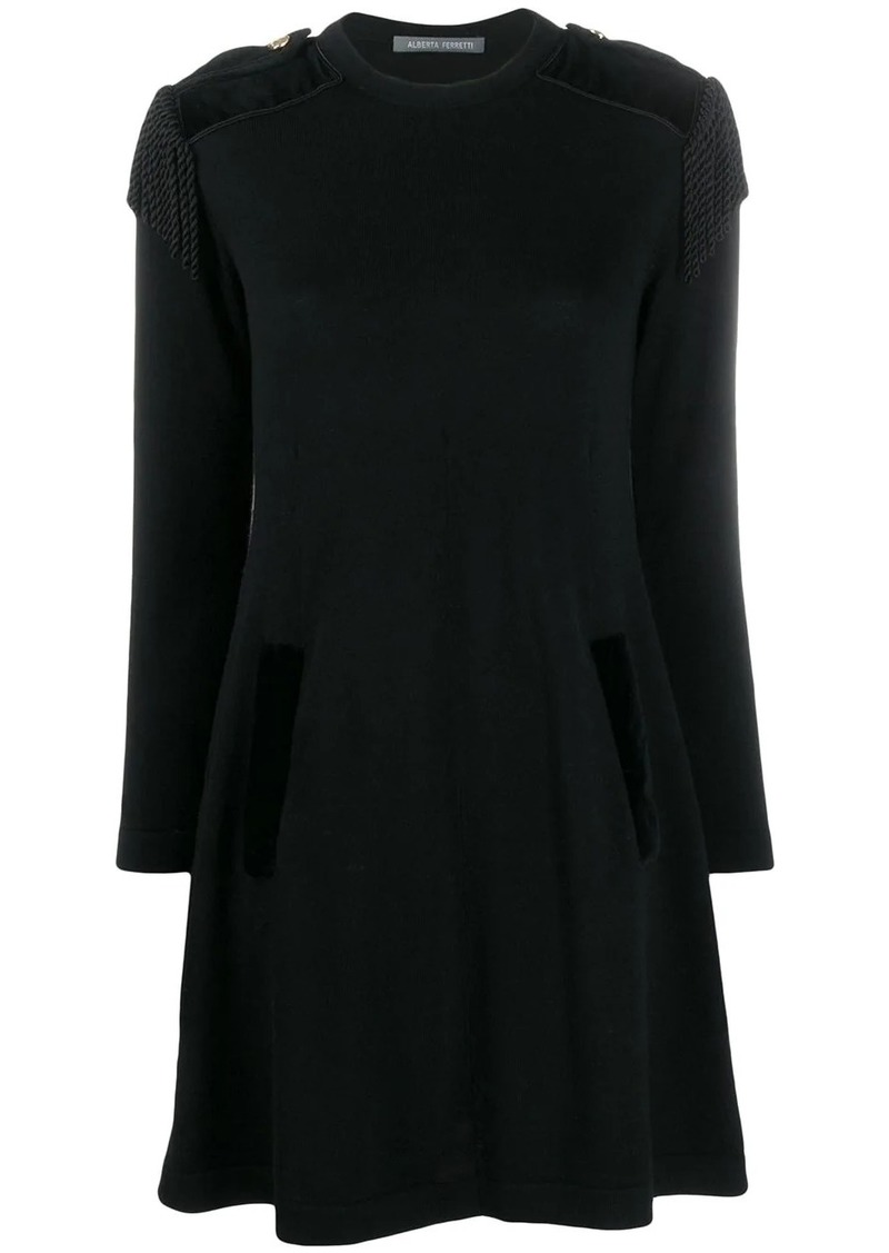 Alberta Ferretti fringe appliqué shift dress