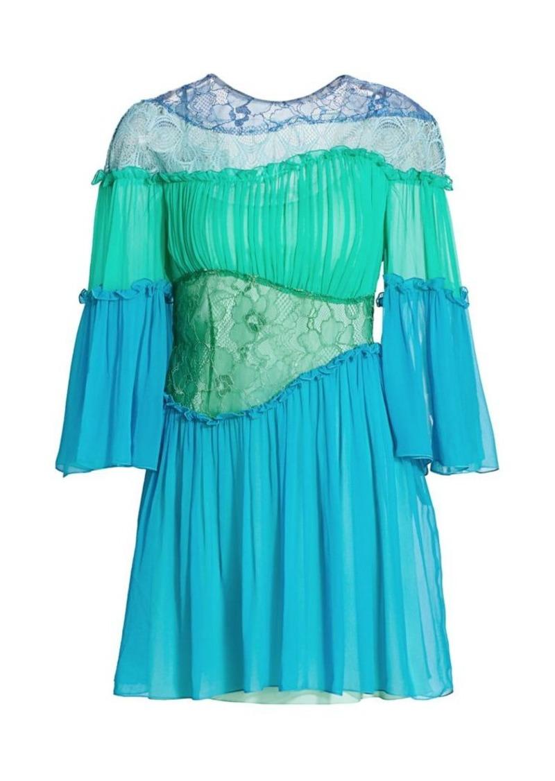 Alberta Ferretti Gathered Lace Silk Mini Dress