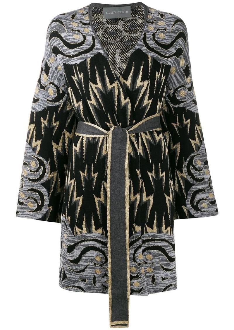 Alberta Ferretti geometric intarsia cardi-coat
