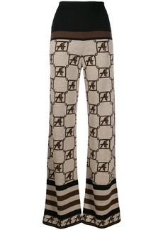 Alberta Ferretti geometric pattern knitted trousers