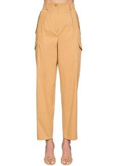 Alberta Ferretti High Waist Cotton Canvas Cargo Pants