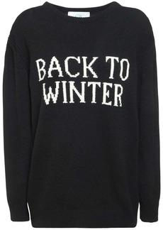 Alberta Ferretti Intarsia Cashmere & Wool Knit Sweater