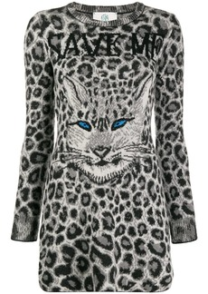 Alberta Ferretti knitted leopard print dress