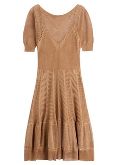 Alberta Ferretti Knitted Linen-Silk Dress