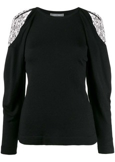 Alberta Ferretti lace-detail sweater