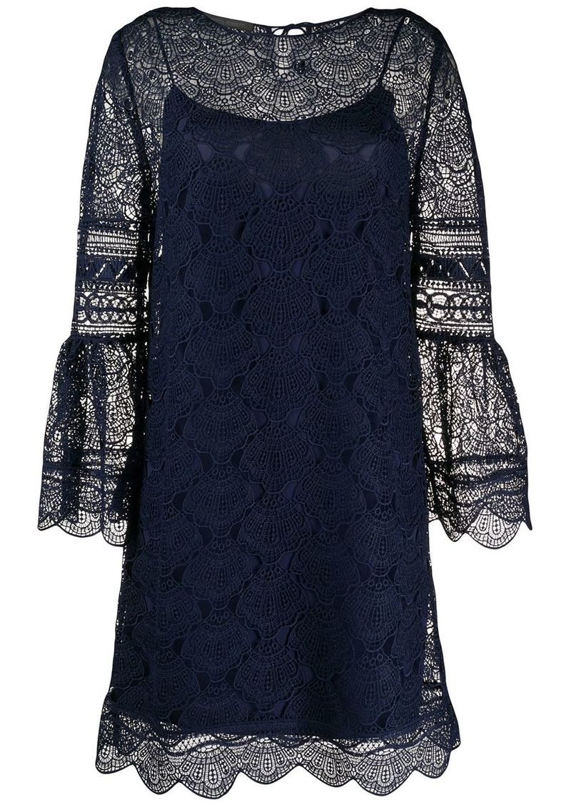 Alberta Ferretti lace scalloped hem dress