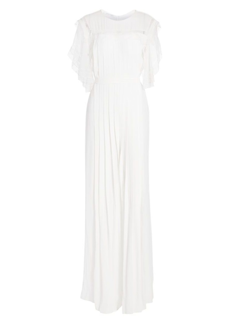 Alberta Ferretti Lace Trim Pleated Jumpsuit