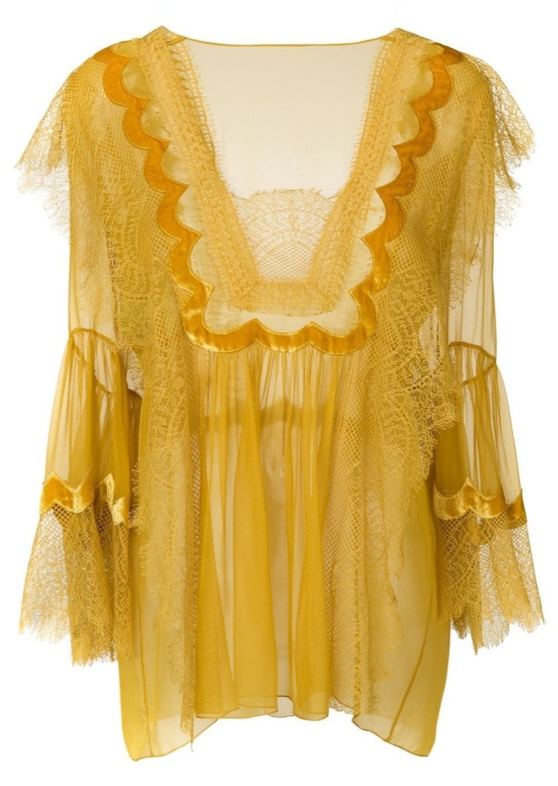 Alberta Ferretti lace trim sheer blouse