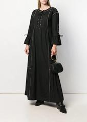 Alberta Ferretti lace-up flared maxi dress