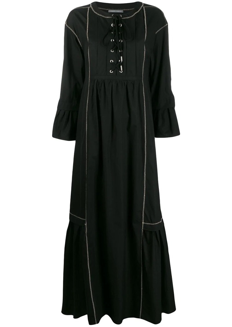 Alberta Ferretti lace-up flared maxi dress