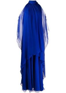 Alberta Ferretti layered cut-out silk gown