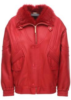 Alberta Ferretti Leather & Fur Biker Jacket